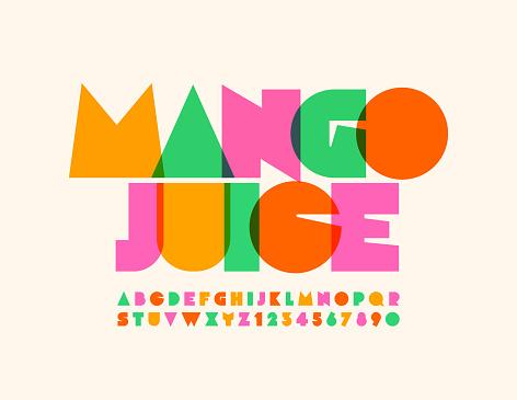 Vector bright emblem Mango Juice with transparent creative Alphabet