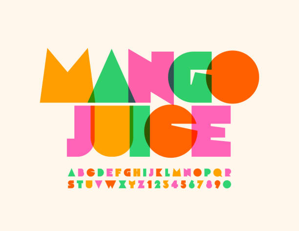 Vector bright emblem Mango Juice with transparent creative Alphabet Colorful Uppercase Letters and Numbers mango stock illustrations