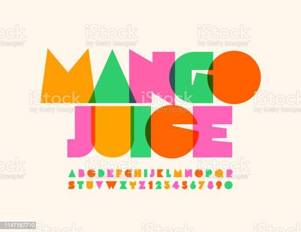 Vector Bright Emblem Mango Juice With Transparent Creative Alphabet - Arte vetorial de stock e mais imagens de Abstrato