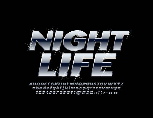 벡터 밝은 상징 밤 생활입니다. 실버 알파벳 문자, 숫자 및 기호 세트 - 크롬 stock illustrations