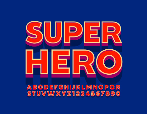 Vector bright emblem Super Hero with 3D Retro style Alphabet Letters and Numbers