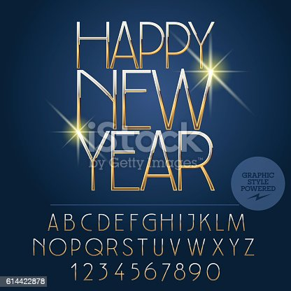 Vector bright Happy New Year 2017 greeting card with set of letters, symbols and numbers. File contains graphic styles