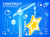 Vector bright illustration construct crane and star on blue back
