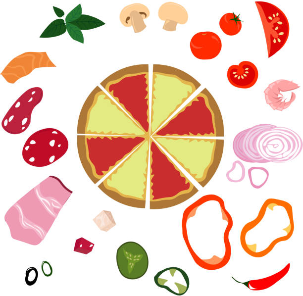 vector helle zutaten für pizza. - zwiebelringteig stock-grafiken, -clipart, -cartoons und -symbole
