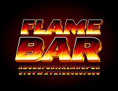 istock Vector bright logo Flame Bar with fire texture Alphabet Letters and Numbers 1264827873