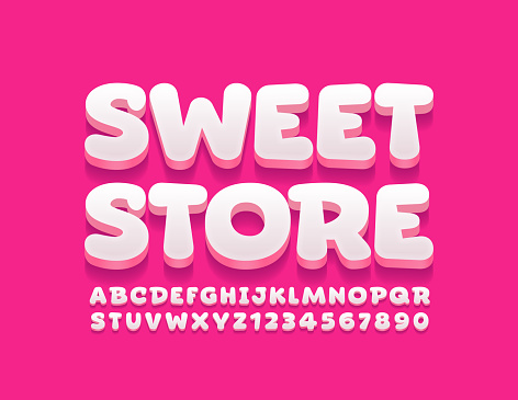 Vector bright logo Sweet Store. Creative 3D Alphabet Letters and Numbers