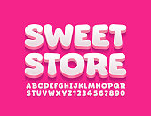istock Vector bright logo Sweet Store. Creative 3D Alphabet Letters and Numbers 1225085184