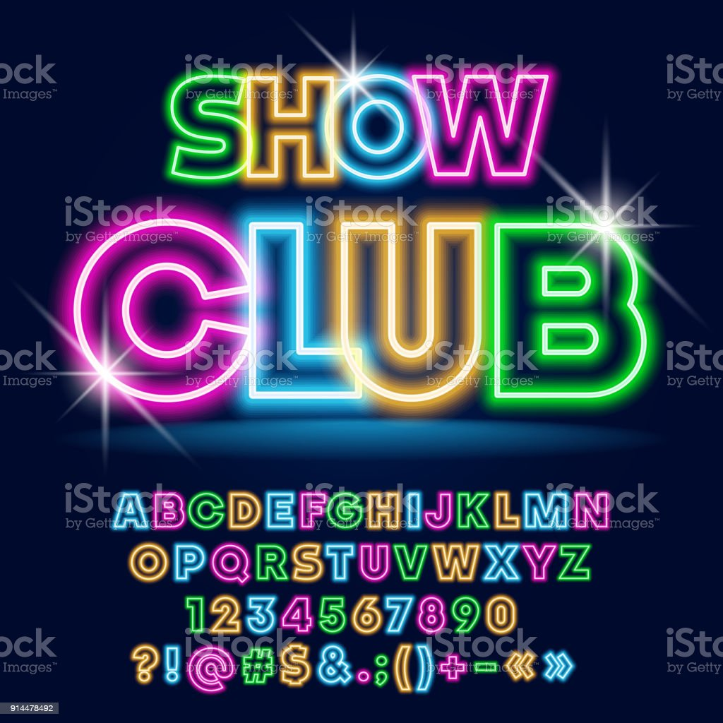 Vector bright Neon poster Show Club with Sparkling Stars