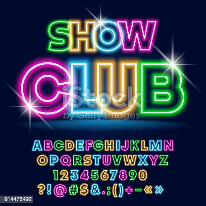 istock Vector bright Neon poster Show Club with Sparkling Stars 914478492