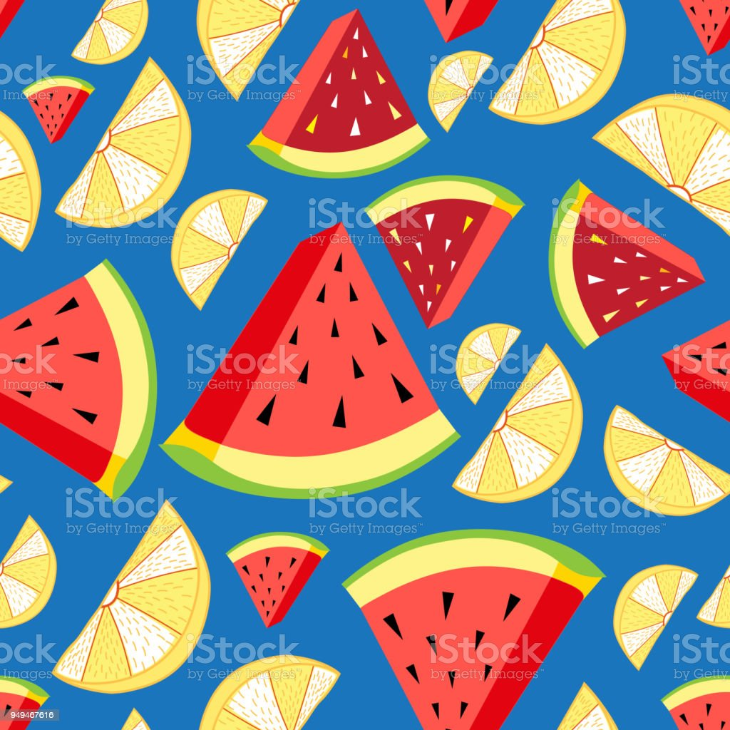 Vector bright pattern of lemon slices and watermelon vector art illustration