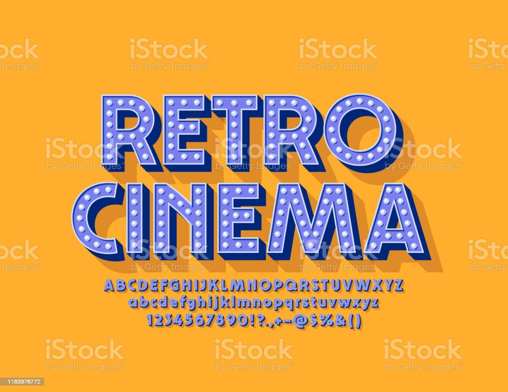 Vector Bright Poster Retro Cinema Illuminated Lamp Alphabet Letters Numbers And Symbols Stock Illustration Download Image Now Istock