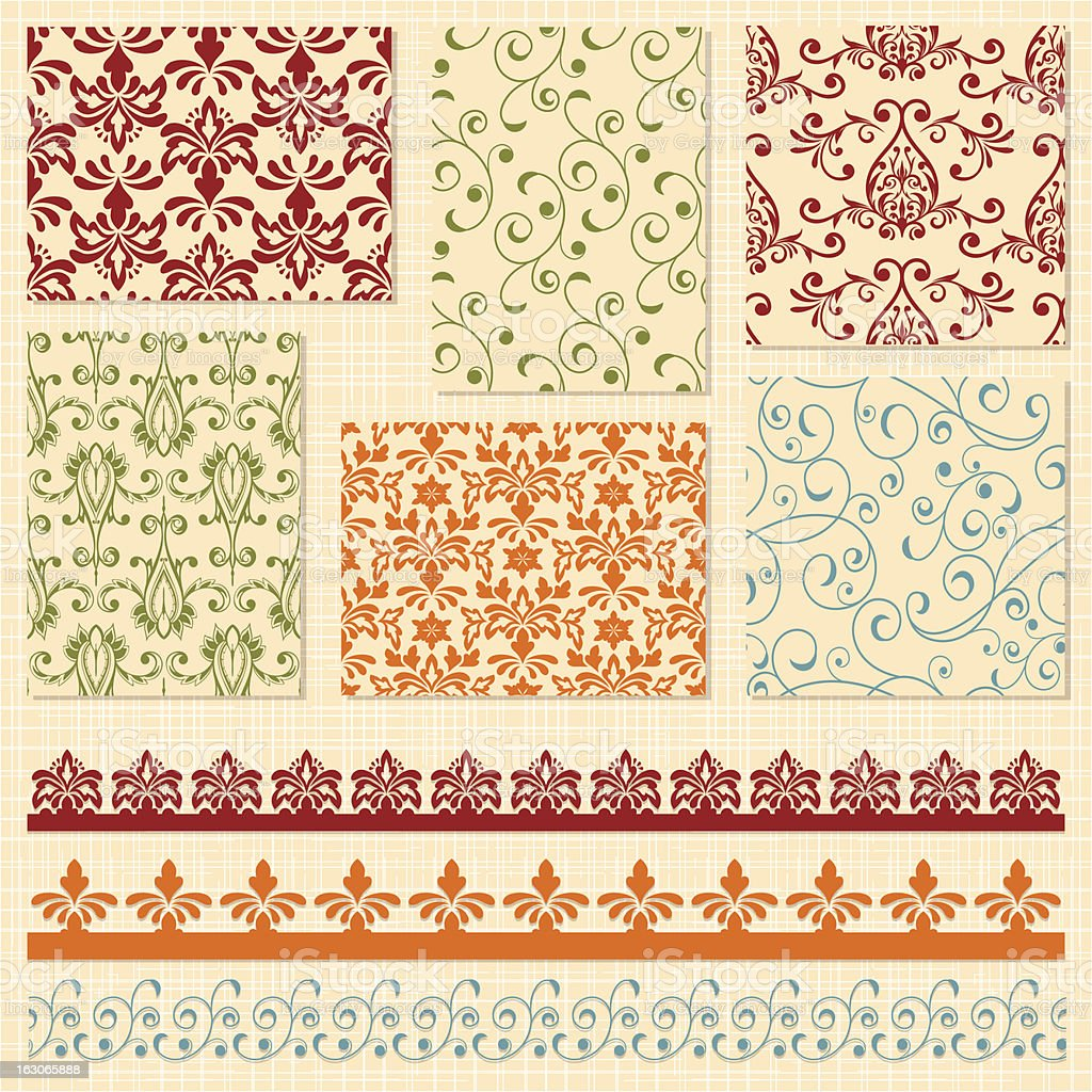 Vector bright seamless patterns and lacy ribbons royalty-free stock vector art