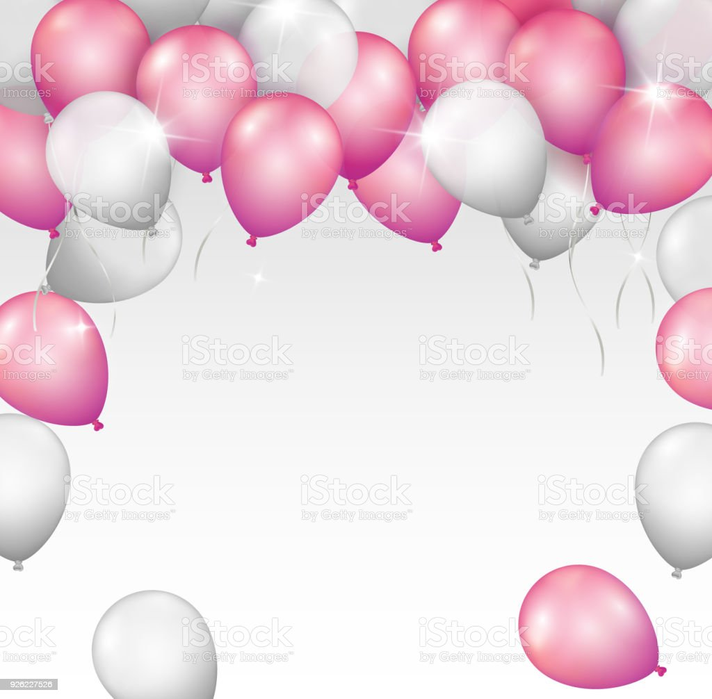 Vektorhell Glänzend Pink Und Silber Ballon Rahmen Mit Platz Für ...