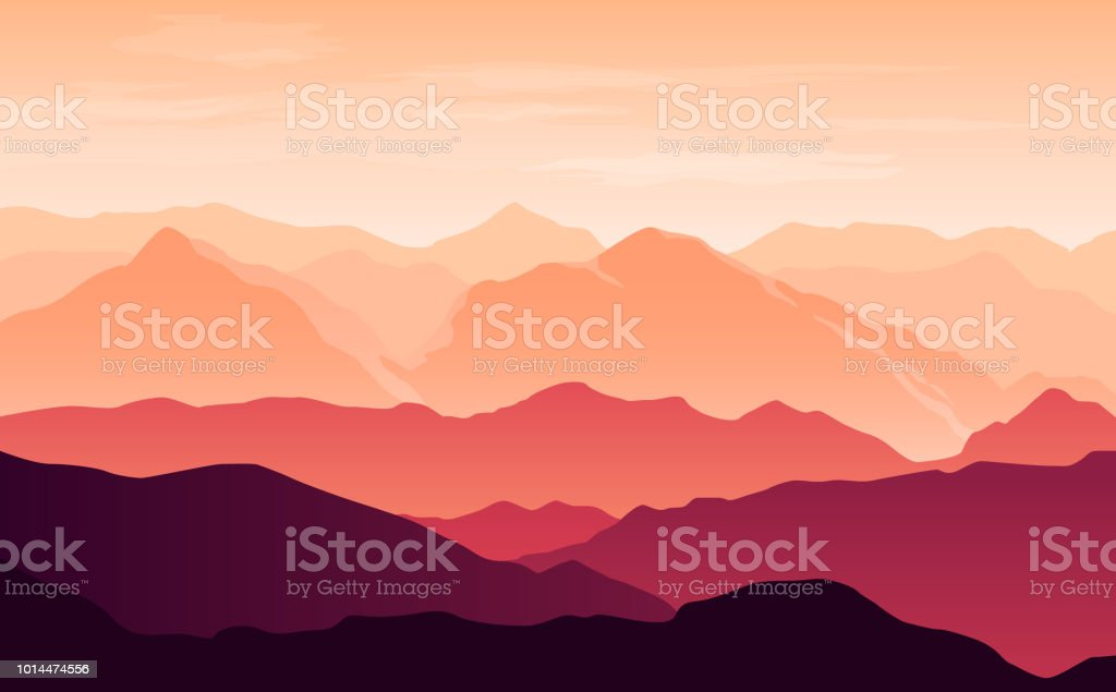 Vector bright silhouettes of orange and purple mountains in the evening with clouds in the sky - Grafika wektorowa royalty-free (Bez ludzi)