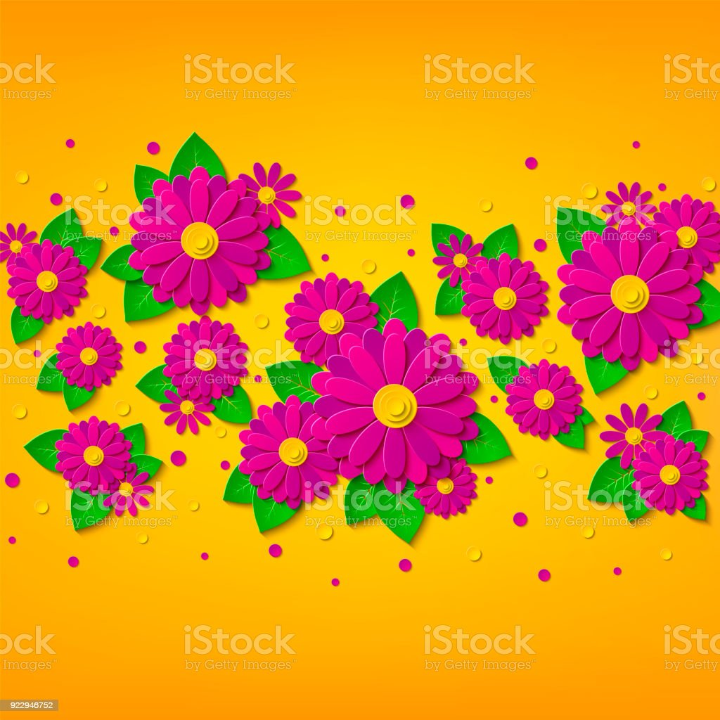 Vector Bright Spring Floral Background With 3d Pink And Purple Cut