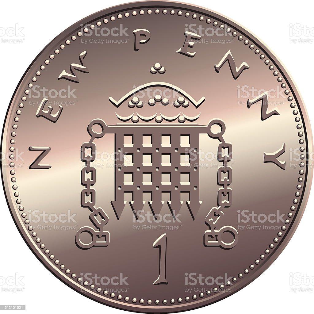 vector British money, coin one pens vector art illustration