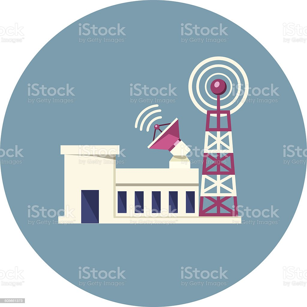 Vector Broadcast Tower vector art illustration