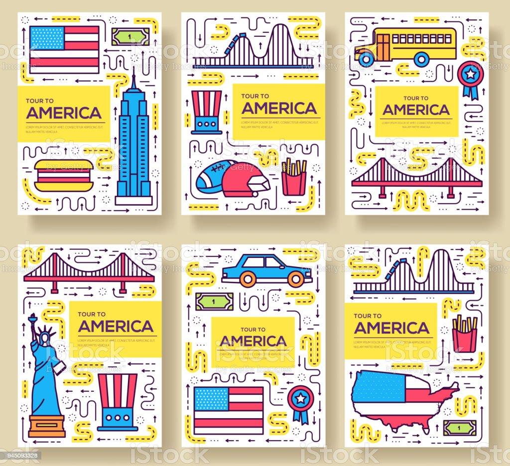 Ilustración de Tarjetas De Catálogo Usa Vector Delgada Línea País De ...