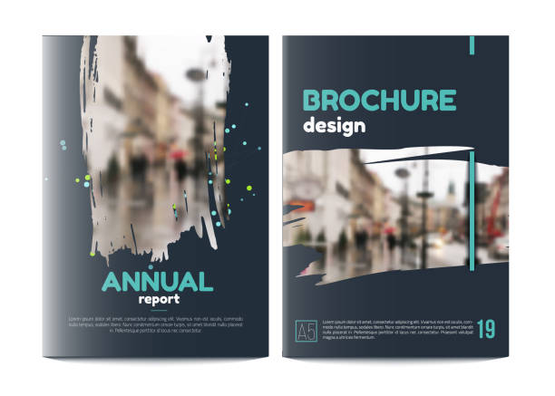 vector brochure cover templates with blured city landscape. business book cover design, flyer brochure cover, professional corporate identity style for presentations. a5 - katalog stock illustrations