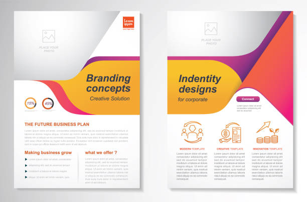 stockillustraties, clipart, cartoons en iconen met vector brochure flyer ontwerp layout template - flyer