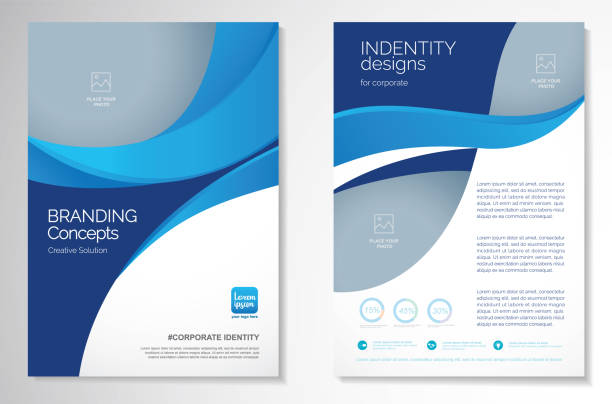 vector brochure flyer design layout template - szkic rysunek stock illustrations