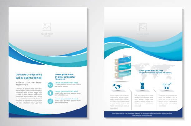 stockillustraties, clipart, cartoons en iconen met vector brochure flyer ontwerp lay-out sjabloon - flyer