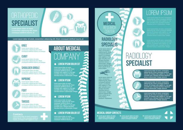 ilustrações, clipart, desenhos animados e ícones de brochura de vetor para o centro de saúde de ortopedia - ortopedia