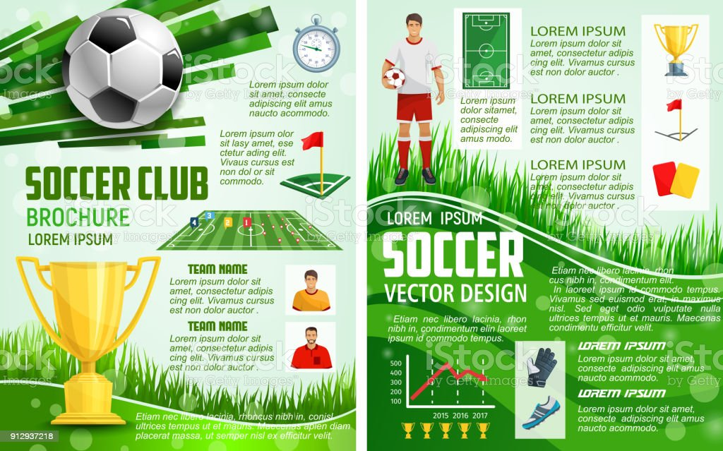 vector brochure for soccer sport football game stock. Black Bedroom Furniture Sets. Home Design Ideas