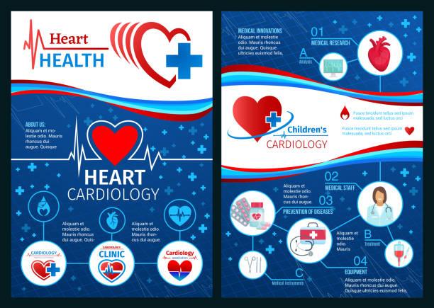 bildbanksillustrationer, clip art samt tecknat material och ikoner med vector broschyren av kardiologi hjärtmedicin - kardiolog
