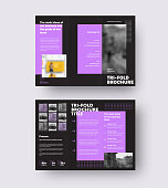 Vector brochure template with geometric purple design, arrows, trifold on black background. Layout of the booklet with realistic shadows. Creative business concept leflat, newsletter,set in front,back
