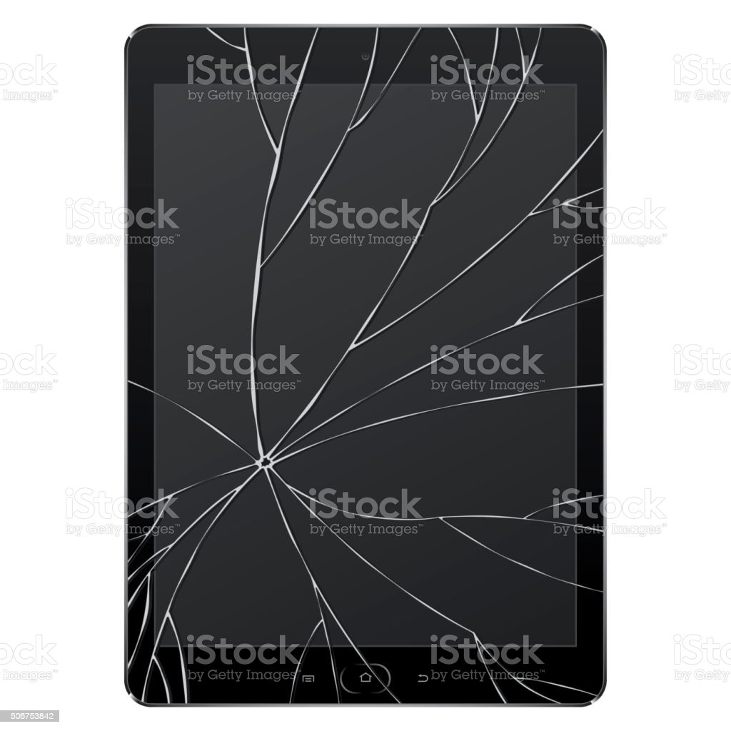 Vector broken Digital Tablet vector art illustration