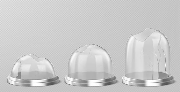 Vector broken glass domes on silver podium