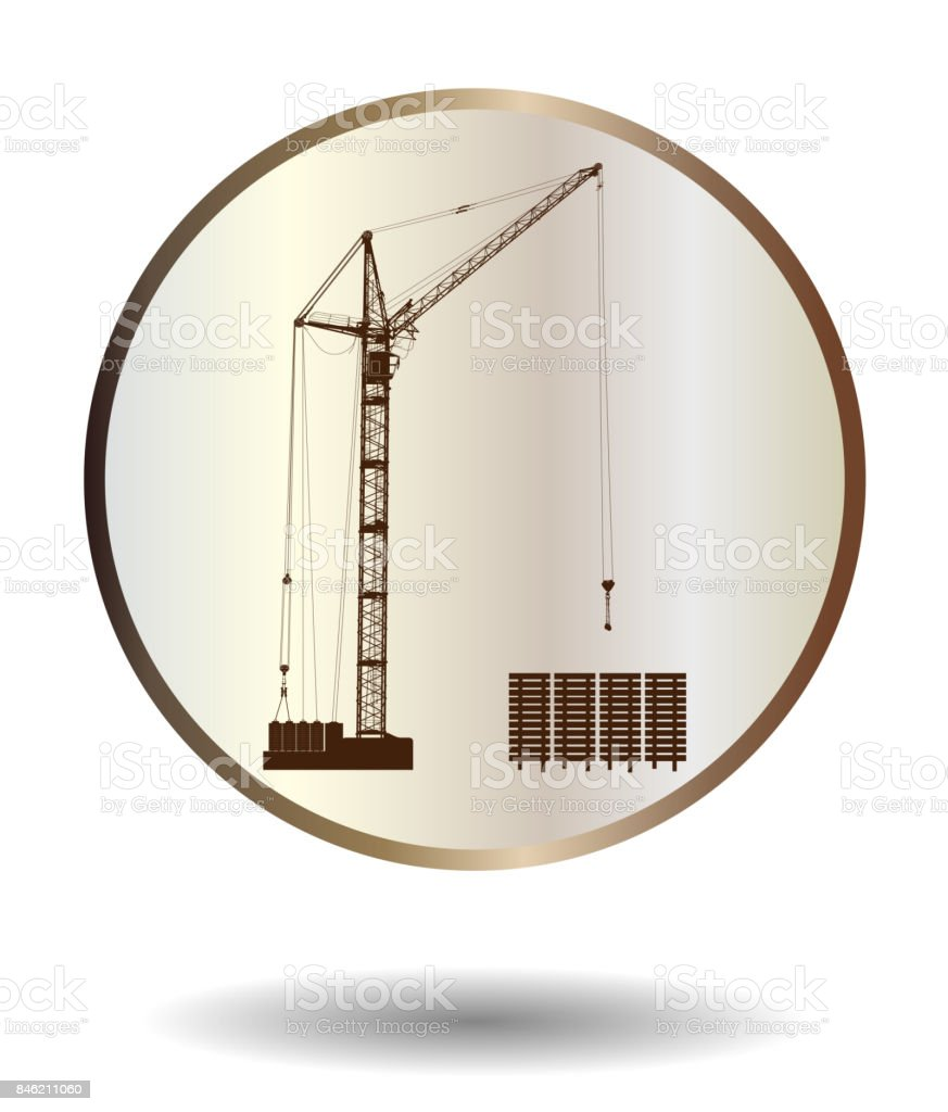 Vector  bronze and ivory icon with high detailed vector hoisting crane isolated on white with shadow. Vector illustration vector art illustration