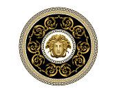 Vector Bronze Baroque Fashionable mandala in vintage style with medusa head. Pattern for textile, design and backgrounds.