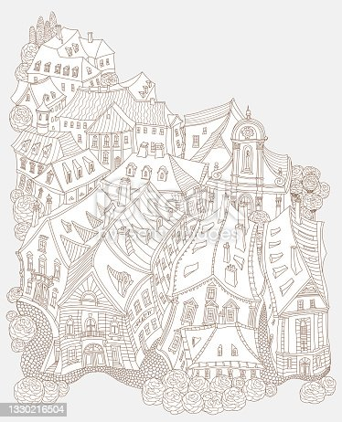 istock Vector brown and beige outline contoured fantasy landscape, fairy tale small town medieval buildings. T shirt print. Adults Coloring Book page, Travel brochure 1330216504