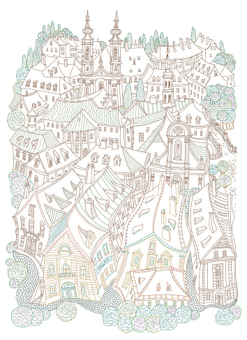 Vector brown and beige outline contoured fantasy landscape, fairy tale small town medieval buildings. T shirt print. Adults Coloring Book page, Travel brochure