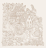 Vector brown colored outline sketch of  fairy tale landscape, flowers, small fantasy Water Mill building, river, frog and snail on a beige background. T shirt print. Adults and children Coloring Book page