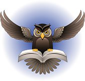 Owl flapping wings, clutching an open book, as a symbol of education and knowledge