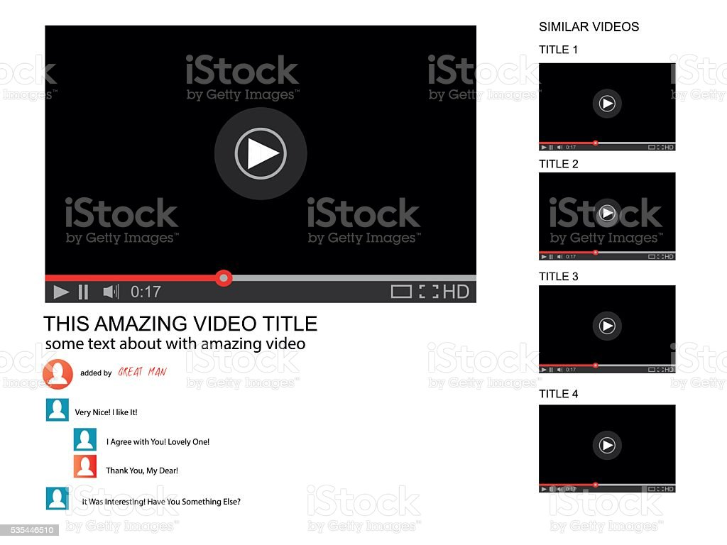Vector browser window with video player web site mock up.