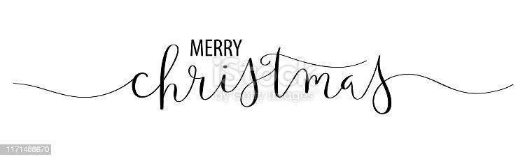 MERRY CHRISTMAS black vector brush calligraphy banner card