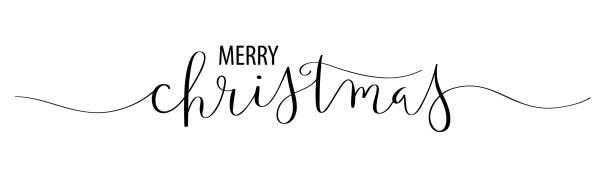 ilustrações, clipart, desenhos animados e ícones de cartão da bandeira da caligrafia da escova do vetor do feliz natal - texto