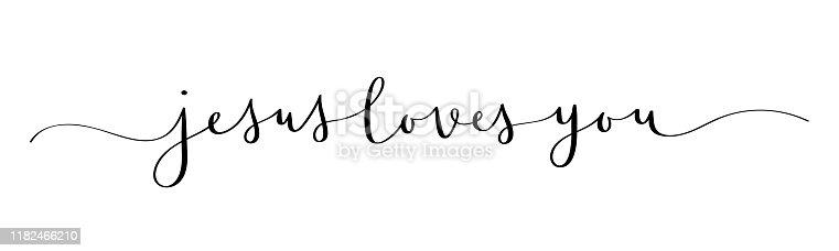 JESUS LOVES YOU black vector brush calligraphy banner