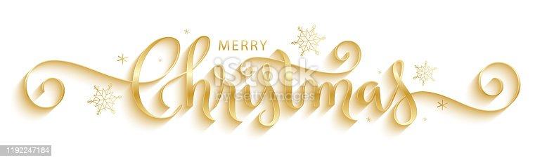 istock MERRY CHRISTMAS vector brush calligraphy banner 1192247184