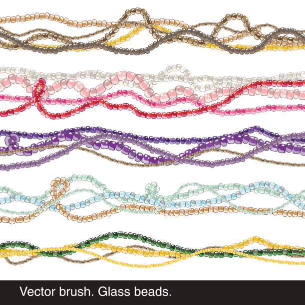vektor-pinsel. glasperlen. halskette - modeschmuck stock-grafiken, -clipart, -cartoons und -symbole