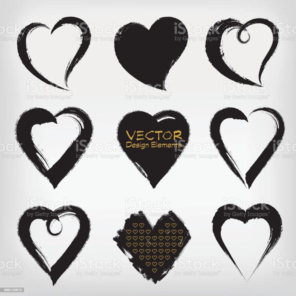 Vektör Fırça Darbesi Ve Doku Kalp şekli Sembolü Stok Vektör Sanatı