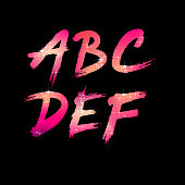 Vector Brush Stroke Font from A to F