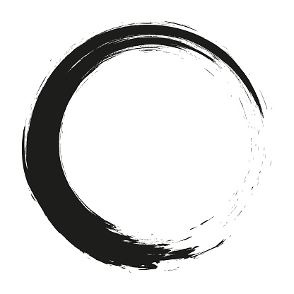 Vector brush strokes circles of paint on white background. Ink hand drawn paint brush circle. Logo, label design element vector illustration.