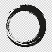 istock vector brush strokes circles of paint on white background. Ink hand drawn paint brush circle. Logo, label design element vector illustration. Black abstract circle. Frame. 1271601181