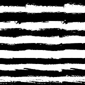 Vector Brush Strokes Seamless Pattern. Vibrant geometric background, grunge vector. Hand drawn stripes pattern for fabric print, textile design, fashion. Distress texture. Black and white color. Brush Strokes Striped Pattern. Grunge lines background. Vector painted pattern