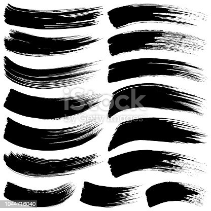 Set of vector brush strokes. Isolated brush smears black on white. Hand drawn paint grunge design elements.